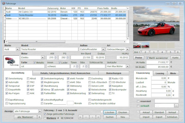 Screenshot vom Programm: CarFox Fahrzeughandel für PKW/LKW/WOMO